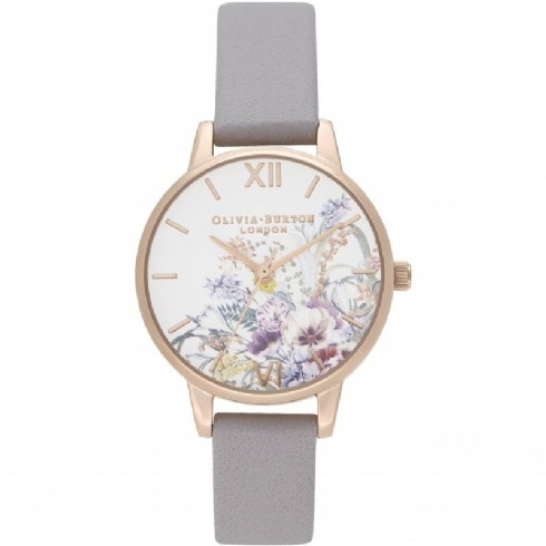 Olivia Burton Grey Lilac and Pale Rose Tone Floral Strap Watch OB16EG150