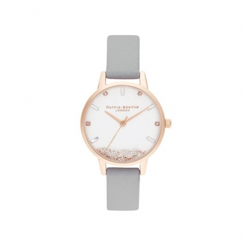 Olivia Burton Rose Tobe Wishing Watch with Grey Leather Strap OB16SG08