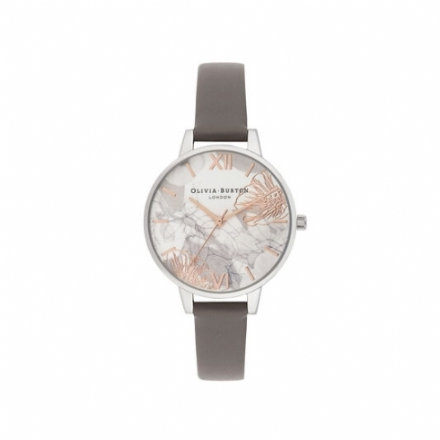 Olivia Burton Florals Demi Dial with London Grey Leather Strap Watch OB16VM32
