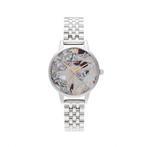 Olivia Burton Stainless Steel and Rose Tone Abstract Florals Watch OB16VM38