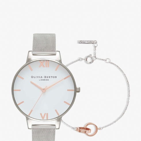 Olivia Burton Classic Stainless Steel and Rose Tone Watch with Two Colour Interlink Bracelet OBGSET53