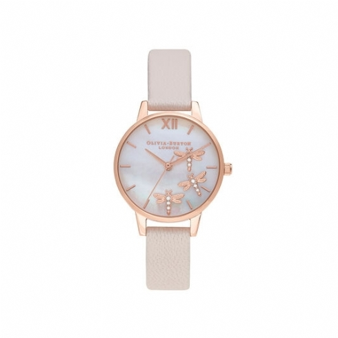 Olivia Burton Dancing Dragonfly Blush Faux Mother of Peal Dial with Pearl Pink Leather Strap OB16GB01