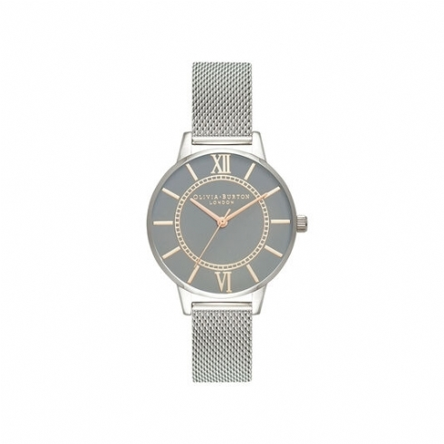 Olivia Burton Stainless Steel and Rose Tone Wonderland Watch with Grey Dial OB16WD86
