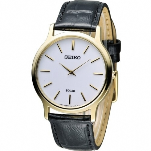 Seiko Men's Solar Powered Yellow Vermeil Leather Strap Watch SUP872P1