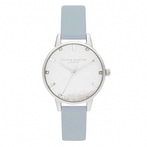 Olivia Burton Chalk Blue Vegan Leather Strap Watch with Wishing Crystal Dial OB16SG07