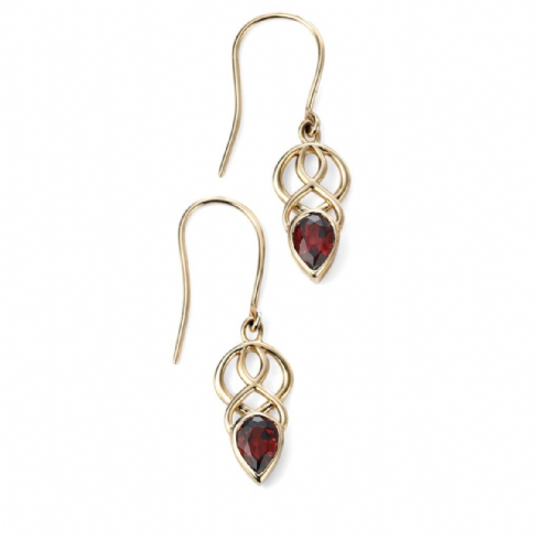 9ct Yellow Gold Celtic Garnet Drop Earrings