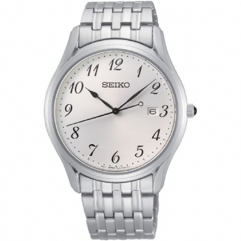 Seiko Gents White Full Figure Dial with Stainless Steel Bracelet Watch SUR299P1