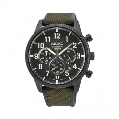 Seiko Gents Chronograph with Khaki Canvas and Rubber Strap Watch SSB369P1