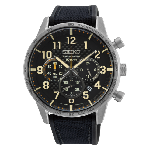 Seiko Gents Chronograph with Black Canvas and Rubber Strap Watch SSB367P1