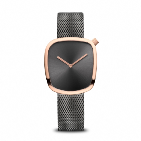 Bering Ladies Pebble Watch with Smoke Grey Mesh Bracelet and Rose Tone Case