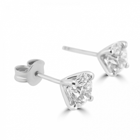 18ct White Gold Total 0.90ct Single Diamond Stud Earrings in Martini Setting
