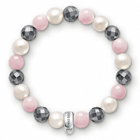 Thomas Sabo Rose Quartz, Pearl and Haematite Charm Bracelet - Large