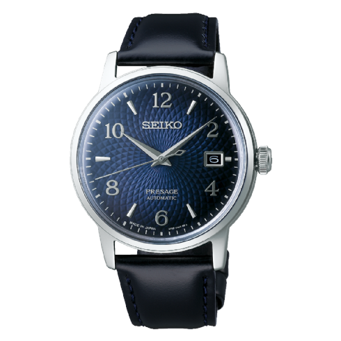 Seiko Presage Automatic Blue Cocktail Watch with Leather Strap SRPE43J1