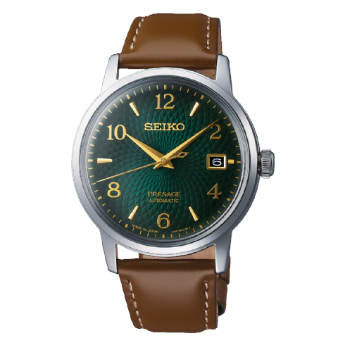 Seiko Presage Automatic 'Mojito' Cocktail Watch with Brown Leather Strap SRPE45J1