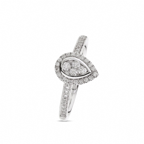 18ct White Gold Diamond Cluster Ring With Pear Shaped Halo And Diamond Set Shoulders