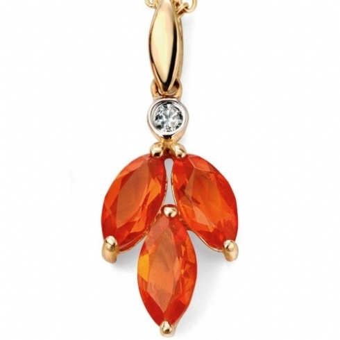 9ct Yellow Gold Fire Opal and Diamond Pendant